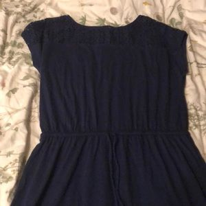 navy tie waist dress